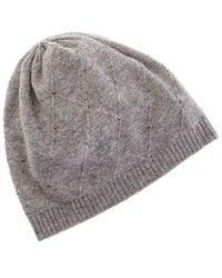 Forte Rhinestone Diamond Stitch Cashmere Hat - Gray