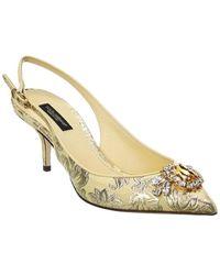 Dolce & Gabbana Floral Brocade Slingback Pump - Metallic