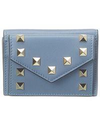 Valentino Valentino Garavani Rockstud Leather French Wallet - Blue