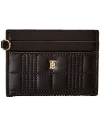 Burberry Sandon Monogram Motif Quilted Leather Card Case - Black