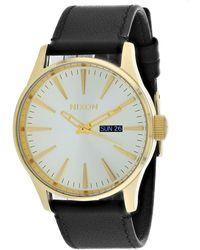 Nixon Sentry Leather Watch - Metallic