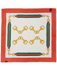 Gucci - Interlocking G Stirrups Print Silk Scarf - Lyst