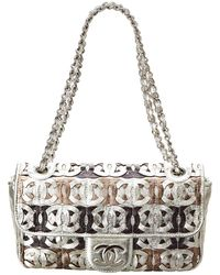 Chanel - Silver Metallic Leather Cc Cutout Jumbo Flap Bag - Lyst