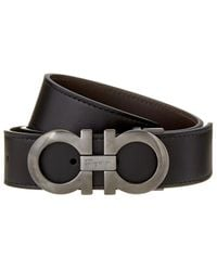 Ferragamo Double Gancio Reversible & Adjustable Leather Belt - Black