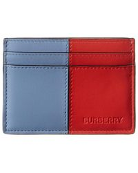 Burberry Colour Block Leather Zip Card Holder - Red