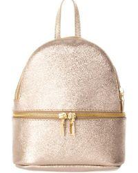 Giorgio Costa Leather Backpack - Metallic
