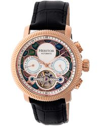 Heritor Aura Automatic White Dial Mens Watch - Multicolour