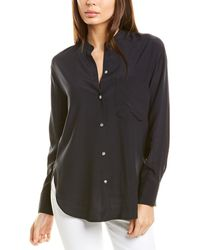 Vince Band Collar Blouse - Blue