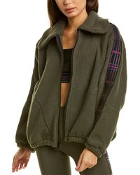 Terez Plaid Elastic Fleece Jacket - Green