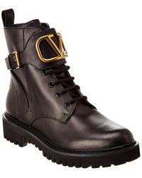 Valentino Garavani Valentino Garavani 'vlogo' Buckle Leather Combat Boots - Black
