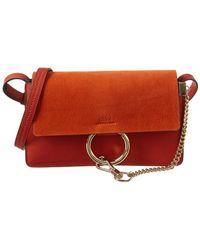 4c7ea313da Lyst - Chloé Medium Faye Leather & Stripped Suede Bag in Brown