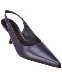 The Row Donna Leather Slingback Pump - Blue