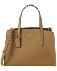 COACH Charlie Carryall Leather Tote - Brown