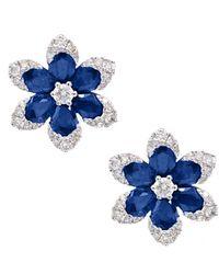Diana M. Jewels . Fine Jewellery 14k 2.33 Ct. Tw. Diamond & Sapphire Earrings - Blue