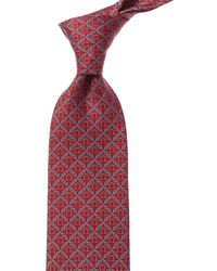 Ferragamo Roped Gancini Silk Classic Tie - Red
