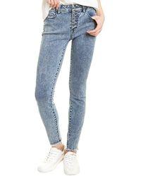 WASH LAB Button-front Atlanta Skinny Leg Jean - Blue