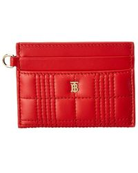 Burberry Sandon Monogram Motif Quilted Leather Card Case - Red
