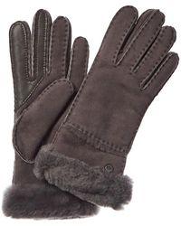 UGG Seamed Tech Water Resistant Sheepskin Gloves - Gray