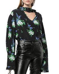 Les Rêveries - Floral Silk Top - Lyst