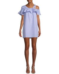 Haute Rogue One-shoulder Stripe Mini Dress - Blue