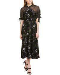 ML Monique Lhuillier Floral Midi Dress - Black