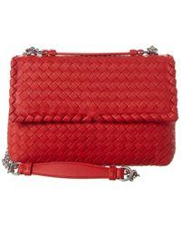 Bottega Veneta Small Olimpia Intrecciato Nappa Leather Shoulder Bag - Red