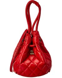 Balenciaga B Small Quilted Leather Bucket Bag - Red