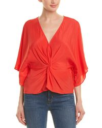 Lavender Brown Twisted Front Silk-blend Top - Red