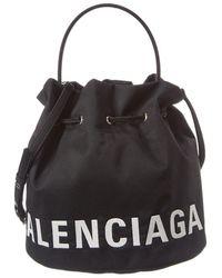Balenciaga Wheel Small Drawstring Bucket Bag - Black