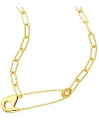 Adornia - 14k Plated Safety Pin Necklace - Lyst