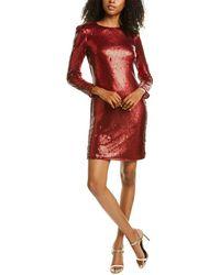 ML Monique Lhuillier Sequin Cocktail Dress - Red
