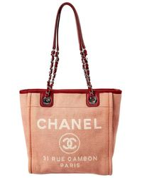 Chanel Red Canvas Mini Deauville Tote