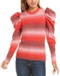Lea & Viola Puff Sleeve Wool-blend Top - Pink
