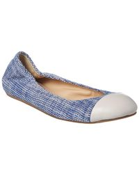 Lanvin Tweed Cap Toe Ballet Flat - Blue