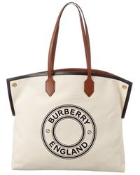 Burberry Large Logo Graphic Canvas Tote - Natural