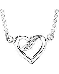 PANDORA Silver Open Heart Necklace - Metallic