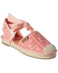 Fendi Roma Ff Motif Ankle Wrap Espadrille - Pink