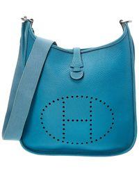 Hermès Blue Clemence Leather Evelyne I Pm
