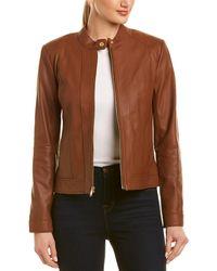 Cole Haan Leather Racer Jacket - Black