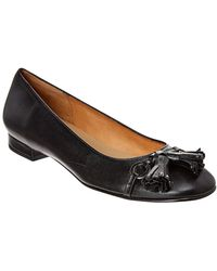 French Sole Kir Leather Flat - Black