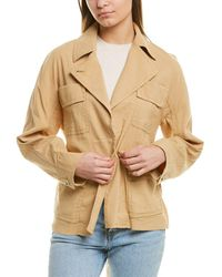 Vince Belted Drapey Linen-blend Jacket - Natural