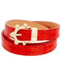 Louis Vuitton Red Monogram Vernis Leather Triple Tour Bracelet