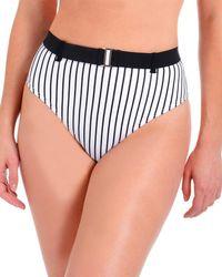 Rachel Roy Pique Striped High Waisted Bikini Bottoms - Black