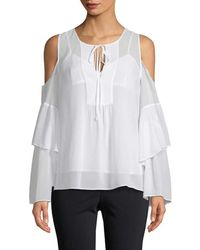 BCBGMAXAZRIA Chiffon Cold-shoulder Top - White