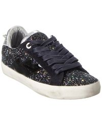 Zadig & Voltaire Used Glitter & Leather Trainer - Black