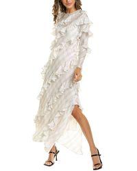 Rebecca Taylor Ruffle Silk Maxi Dress - White