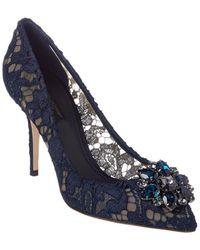 Dolce & Gabbana Bellucci 90 Lace Pump - Blue