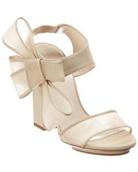 Delpozo Bow Satin & Tulle Sandal - Natural