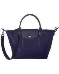 Longchamp Le Pliage Neo Small Nylon Short Handle Tote - Blue
