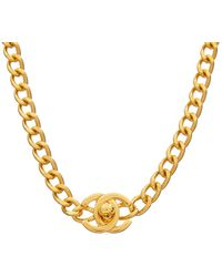 Chanel - Gold-tone Turnlock Necklace - Lyst